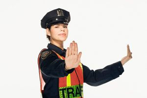 Traffic police officer directing traffic on white background, portrait